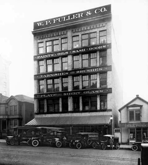 "The W. P. Fuller Building, Tacoma WA. Owner: William Ferguson Architect: C. A. Darmer. ""A building designed especially for the paint and glass business"""