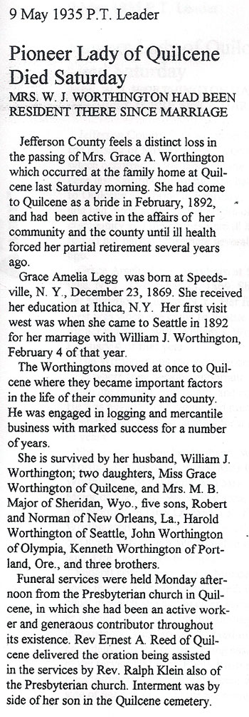 Obituary for Grace Amelia Legg Worthington