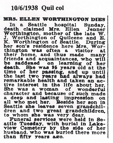 Obituary for Ellen Jenner Worthington (1843-1938)